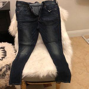 Express cropped skinny jeans, medium wash